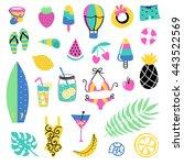 summer vector elements... | Shutterstock .eps vector #443522569