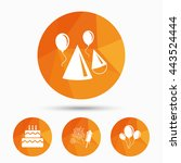 birthday party icons. cake ... | Shutterstock .eps vector #443524444