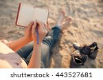 female makes notes and sitting... | Shutterstock . vector #443527681