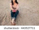 barefoot female on the beach... | Shutterstock . vector #443527711