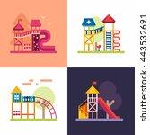 playgrounds for kids. set of... | Shutterstock .eps vector #443532691