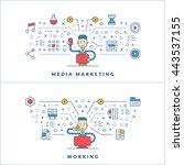 media marketing. working. flat... | Shutterstock .eps vector #443537155