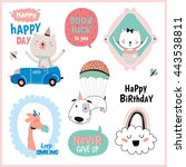 set of birthday cards  gift...   Shutterstock .eps vector #443538811