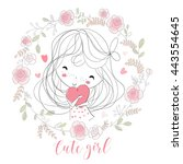 beautiful girl with a heart | Shutterstock .eps vector #443554645