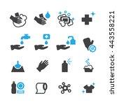 hygiene icons set vector | Shutterstock .eps vector #443558221