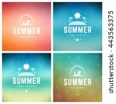 summer holidays vector retro... | Shutterstock .eps vector #443563375