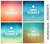 summer holidays vector retro... | Shutterstock .eps vector #443563375