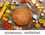 spaghetti and fettuccine with... | Shutterstock . vector #443565961