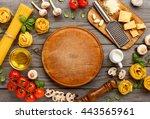 spaghetti and fettuccine with... | Shutterstock . vector #443565961