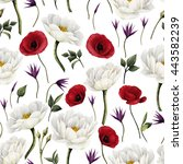 seamless floral pattern with... | Shutterstock . vector #443582239