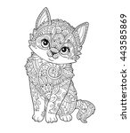 sitting kitten in zentangle... | Shutterstock .eps vector #443585869