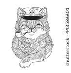 doodle cat captain smoking pipe ... | Shutterstock .eps vector #443586601