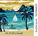 summer beach with palm trees... | Shutterstock .eps vector #443586829