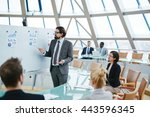ceo showing papers with... | Shutterstock . vector #443596345