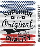 superior denim typography  t... | Shutterstock .eps vector #443598619