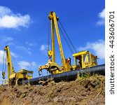on the pipeline repairs | Shutterstock . vector #443606701