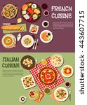 french and italian cuisine.... | Shutterstock .eps vector #443607715