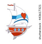 sailing boat with heart patch | Shutterstock .eps vector #443617321
