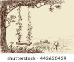 swing drawing. a cute floral... | Shutterstock .eps vector #443620429