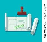house planning technical... | Shutterstock .eps vector #443622139