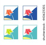 set icons  logo sea and summer. ... | Shutterstock .eps vector #443625301