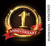 1st golden anniversary logo ... | Shutterstock .eps vector #443625835