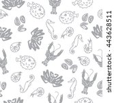 seamless pattern with seafood.... | Shutterstock .eps vector #443628511