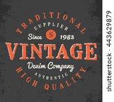 vintage denim company print for ... | Shutterstock .eps vector #443629879