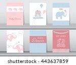 set of baby shower invitation...   Shutterstock .eps vector #443637859