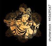 krishna janmashtami   hindu... | Shutterstock .eps vector #443639167