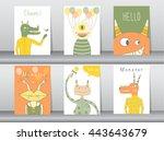 set of cute monster poster... | Shutterstock .eps vector #443643679