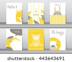 Stock vector set of cute animals poster template cards bear bird lion rabbit zoo vector illustrations 443643691