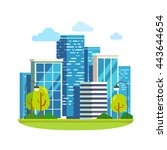 minimalist city downtown... | Shutterstock .eps vector #443644654