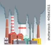 highly polluting factory plant... | Shutterstock .eps vector #443661511