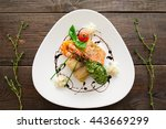 seafood wood serving creative... | Shutterstock . vector #443669299
