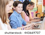 group of elementary school... | Shutterstock . vector #443669707