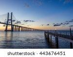 vasco da gama bridge at sunrise ... | Shutterstock . vector #443676451