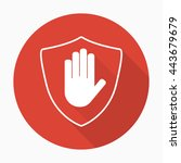 shield with hand block icon in... | Shutterstock .eps vector #443679679