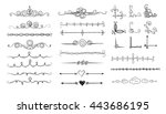 set of doodle sketch dividers... | Shutterstock . vector #443686195