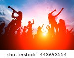 silhouettes of young people... | Shutterstock . vector #443693554