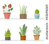 Vector Set With Flat Flowers I...