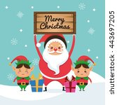 santa and elf cartoon icon.... | Shutterstock .eps vector #443697205
