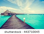 beautiful tropical maldives... | Shutterstock . vector #443710045