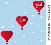 aerostats heart red flying in... | Shutterstock .eps vector #443713195