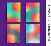 line halftone backgrounds set.... | Shutterstock .eps vector #443715241