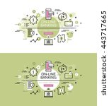 set of modern vector... | Shutterstock .eps vector #443717665