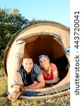 young couple in tent camp on... | Shutterstock . vector #443720041