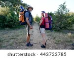 young couple hiking together... | Shutterstock . vector #443723785