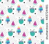 seamless summer pattern. vector ...   Shutterstock .eps vector #443724481