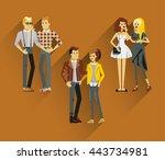 flat line bright set of modern... | Shutterstock .eps vector #443734981